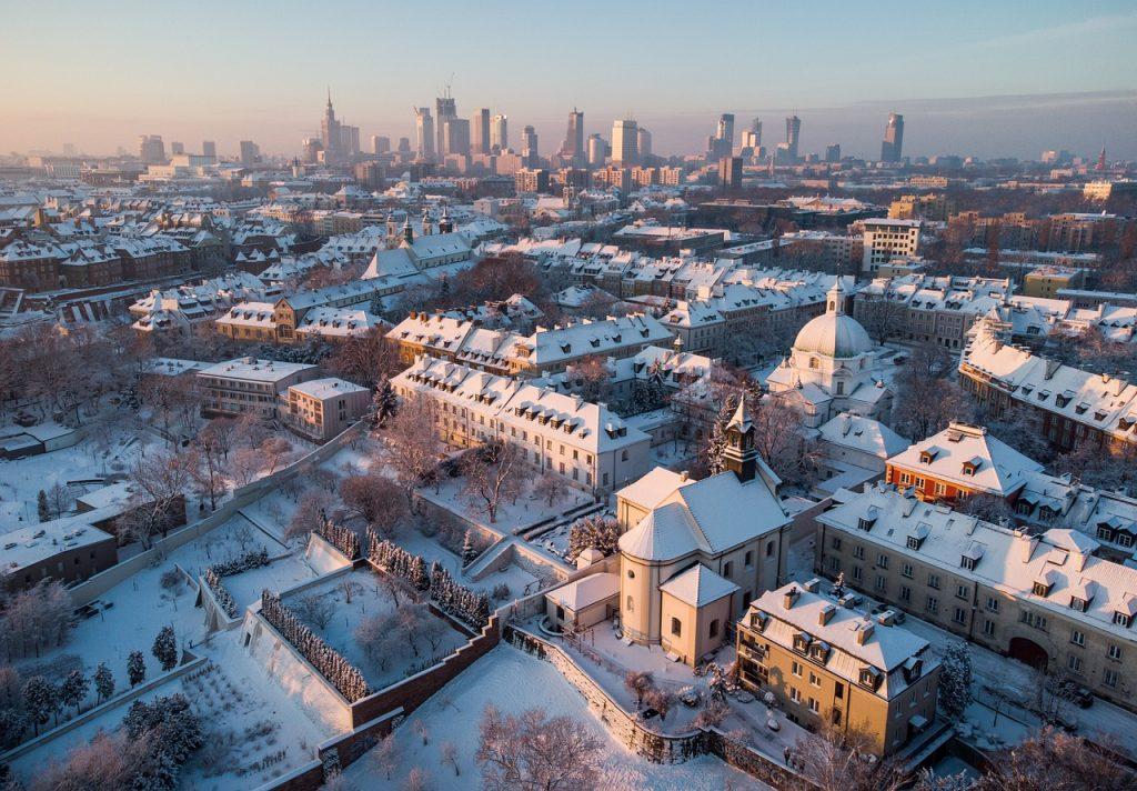 Winter Stadt Gebäude